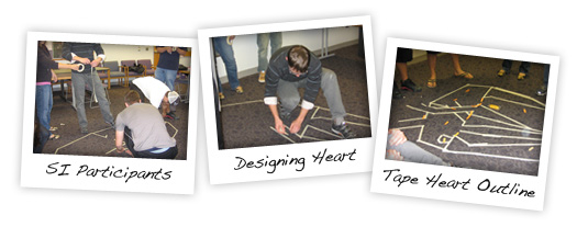 SI participants designing an outline of a heart with tape on the floor