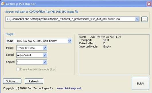 Active ISO Burner screen capture