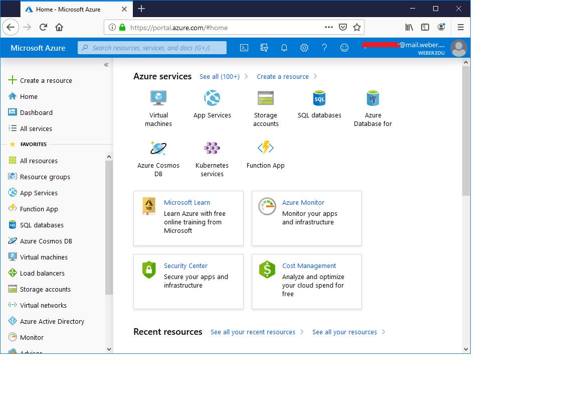 screenshot of Azure services