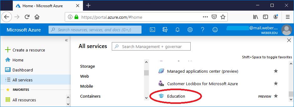 screenshot showing to click in education