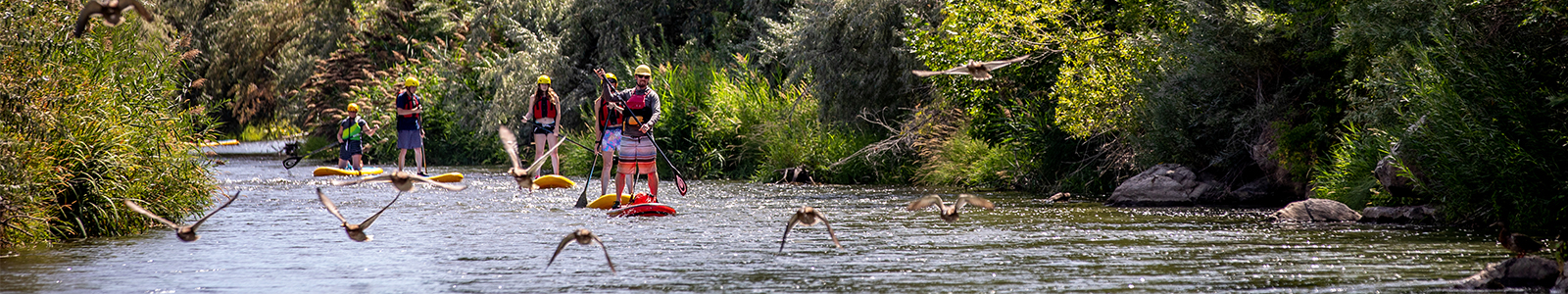 Students float down a river on a paddle board