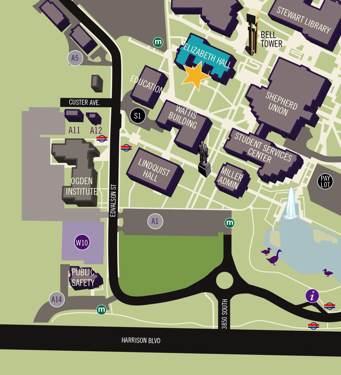 campus map showing location of Elizabeth Hall