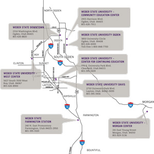 thumbnail image link to Weber State Campus Locations map