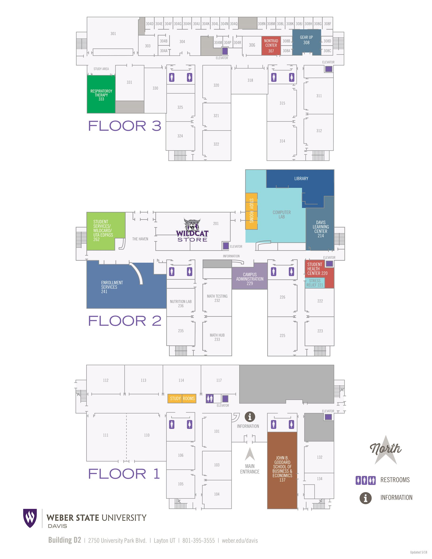 map of WSU Davis building D2