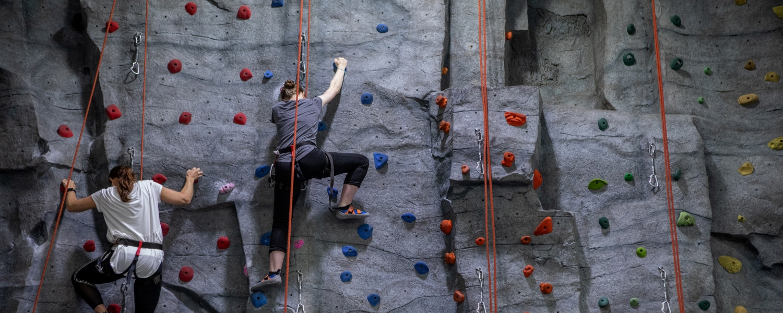 students climbing