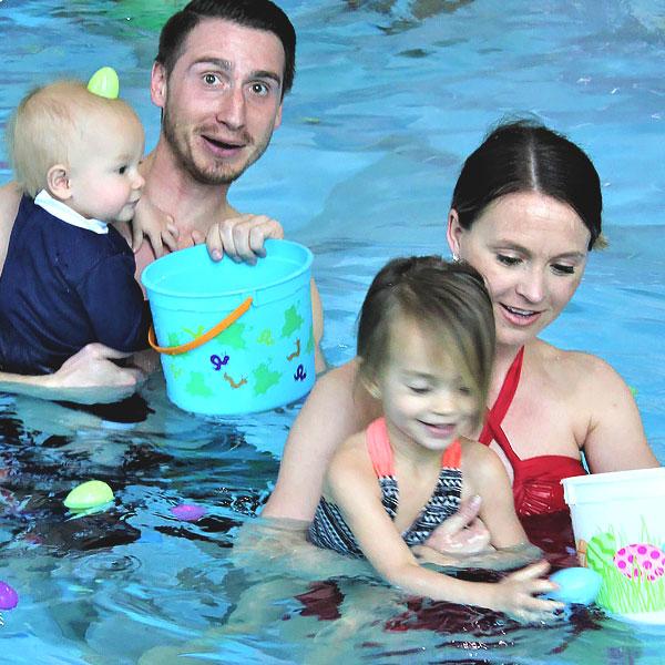 family at egg dive