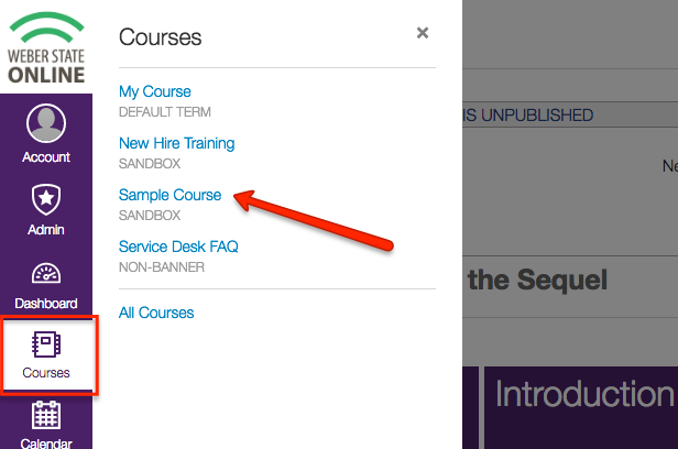your list of courses pops up after you click on the courses icon
