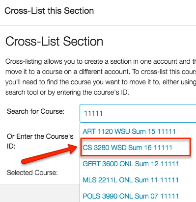 the course list drop down will pop up after you've typed in your crn