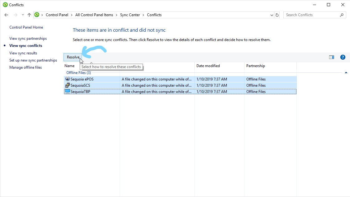 resolve sync center conflicts