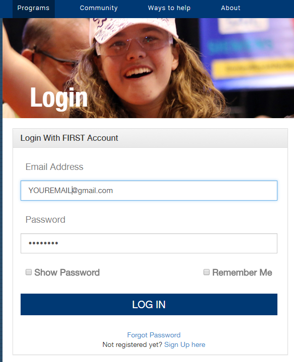 login with your first account screen shot