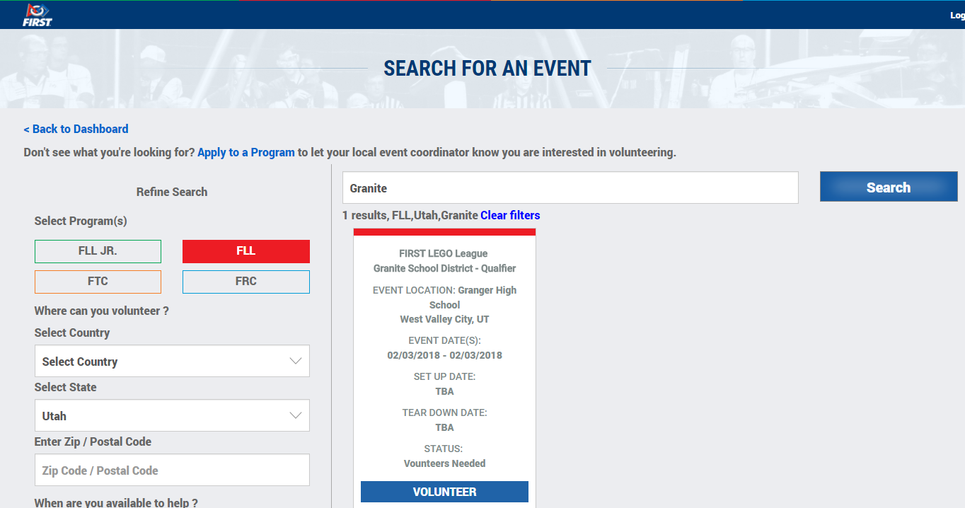 search for an event