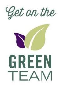 """""""Get on the Green Team"""" logo with small purple leaf half behind a large light green leaf."""