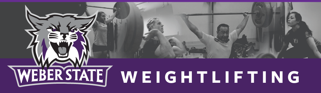 Weber State Weightlifting - Wildcat Logo with black and white images of team lifters